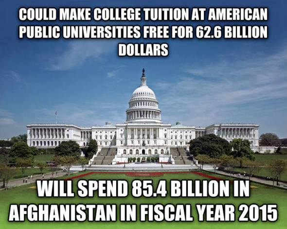 Could make college tuition at American public universities free for 62.6 billion dollars / Will spend 85.4 billion dollars in Afghanistan in fiscal year 2015