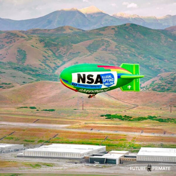 Greenpeace Fly's Airship Over NSA's Utah Data Center to Protest Illegal Internet Spying