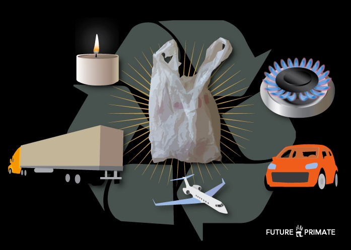 Plastic shopping bags make a fine diesel fuel